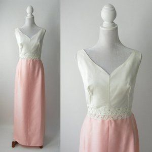 Vintage 1950s Pink and White Gown